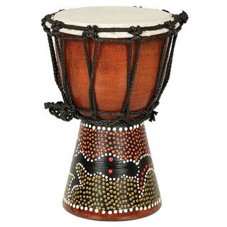 Mini Djembe Drum with Hand-Painted Gecko Design (Indonesia)