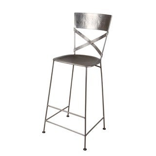 Jabalpur Antique Nickel Finished Iron Bar Stool (India)