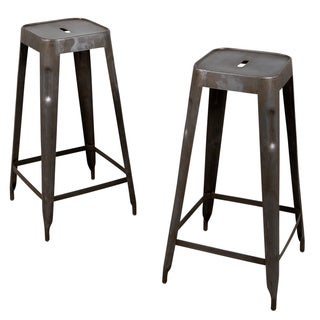 Set of 2 Madurai Natural Steel Bar Stools (India)