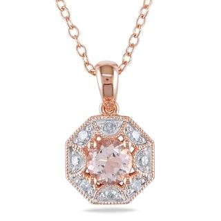 Miadora Rose Plated Silver Morganite 1/8ct Diamond Necklace (H-I, I2-I3)