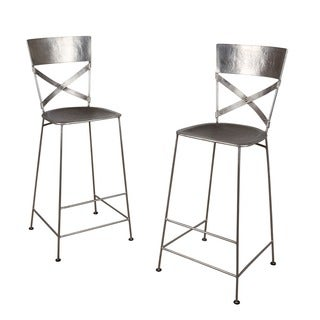 Set of 2 Antique Nickel Jabalpur Bar Stool (India)