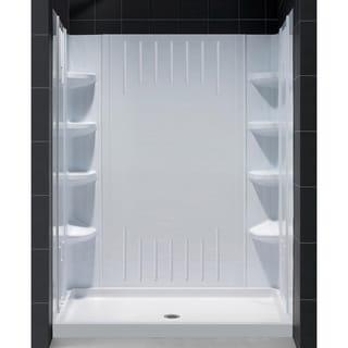 One Piece SlimLine Single Threshold Shower Base and QWALL-3 Shower Backwalls Kit