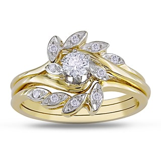 Miadora 14k Yellow Gold 1/4ct TDW Diamond Bridal Ring Set (H-I, I1-I2)