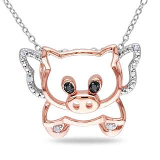 M by Miadora Sterling Silver Diamond Pig Necklace