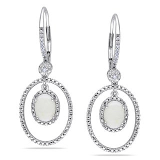 Miadora Sterling Silver Opal and 1/8ct TDW Diamond Earrings (H-I, I2-I3)