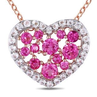 Miadora Rose Plated Silver Created Pink Sapphire White Topaz Necklace