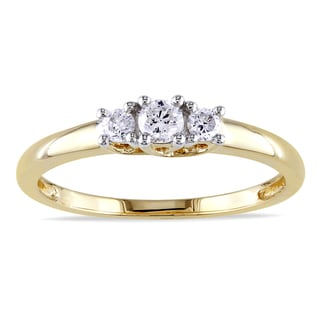 Miadora 14k Yellow Gold 1/4ct TDW Three Stone Round Diamond Ring (G-H, I1-I2)