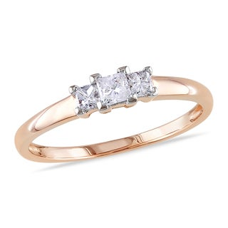 Miadora 14k Rose Gold 1/4ct TDW 3-Stone Diamond Ring (G-H, I1-I2)