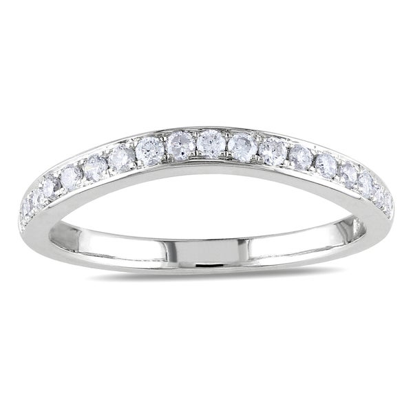 Miadora 14k White Gold 1/3ct TDW Diamond Wedding Band (G-H, SI1-SI2)