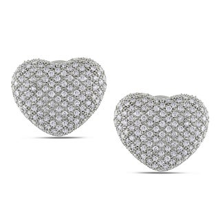 Miadora 14k White Gold 1 7/8ct TDW Pave Diamond Heart Earrings (G-H, SI1-SI2)