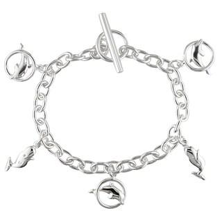 Miadora Sterling Silver Dolphin Charm Bracelet