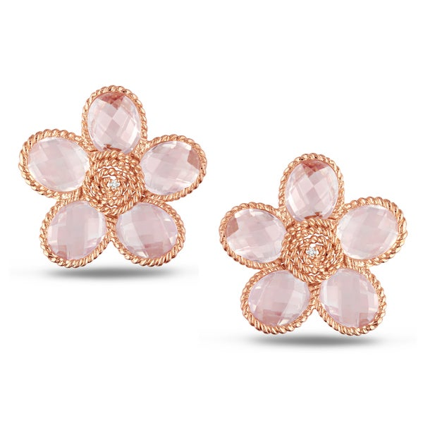 Miadora Rose Plated Silver Rose Quartz and Diamond Flower Earrings