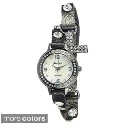 Geneva Platinum Women's Studded Wrap Watch