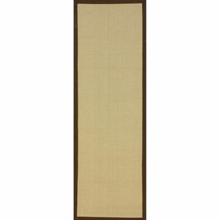 nuLOOM Handmade Alexa Natural Fiber Cotton Border Jute Runner (2'6 x 8')