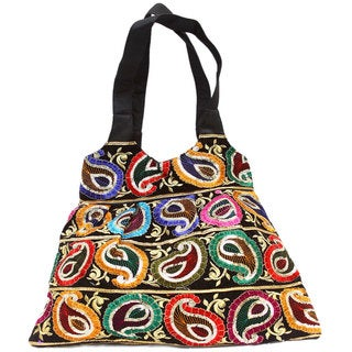 Black Gujarati Shopper Bag with Embroidered Paisleys (India)