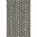 nuLOOM Handmade Modern Chevron Waves Black Wool Rug (7'6 x 9'6)