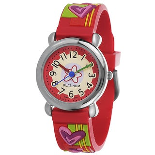 Geneva Platinum Girl's Red Silicone Watch with Daisy and Heart