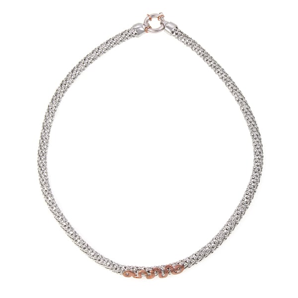 Sterling Silver and Rose Gold Wave Choker Necklace (Italy)