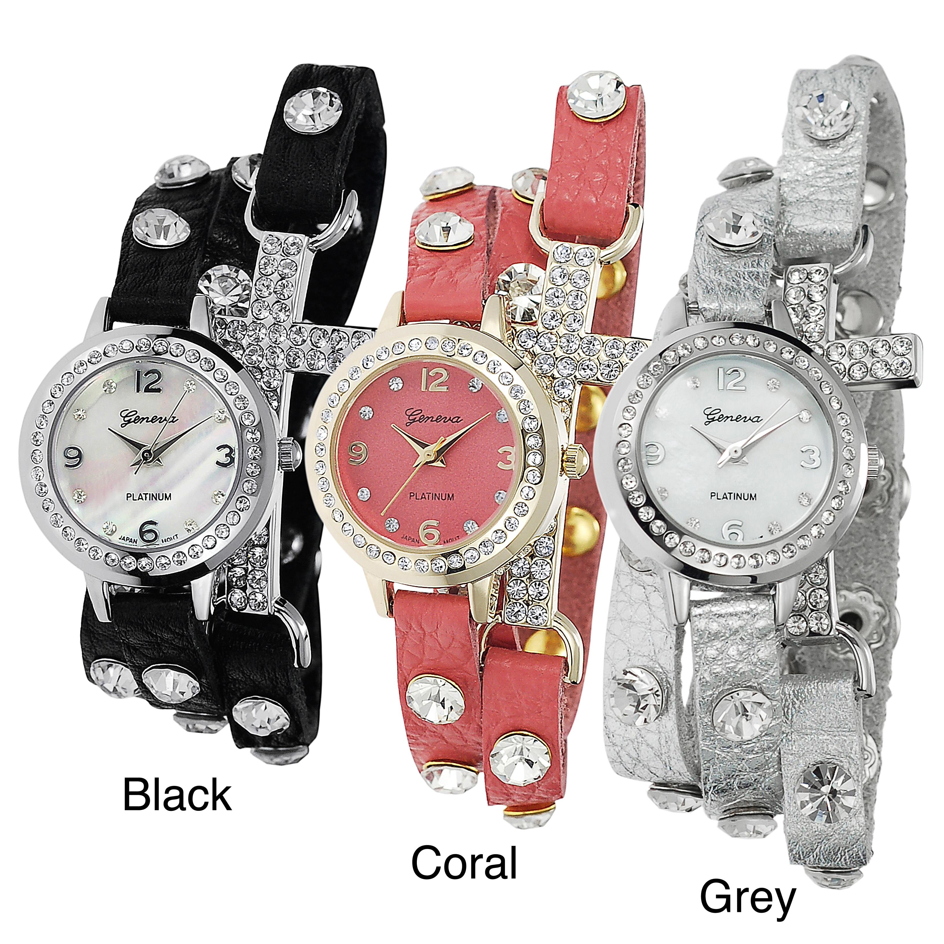 Geneva Platinum Modern Geneva Platinum Women's Studded Wrap Watch