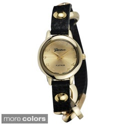 Goldtone Geneva Platinum Women's Studded Wrap Watch