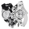 Stainless-Steel Geneva Platinum Women's Studded Wrap Watch