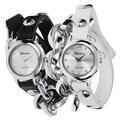 Stainless-Steel Geneva Platinum Women's Studded Wrap Watch