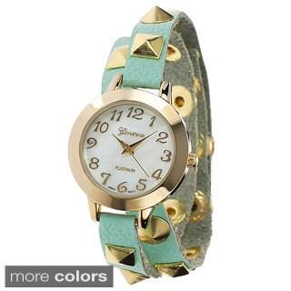 Faux-Leather Geneva Platinum Women's Studded Wrap Watch