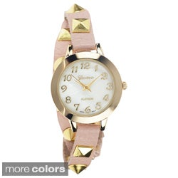 Faux-Leather Geneva Platinum Women's Studded Wrap Watch