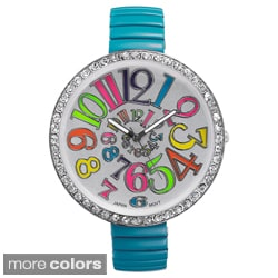 Geneva Platinum Women's Rhinestone-Bezel Stretch Watch