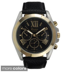Geneva Platinum Women's Faux-Leather Stainless-Steel Watch