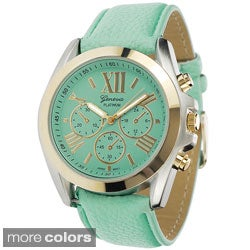 Geneva Women's Platinum Faux-leather Japanese-quartz Watch