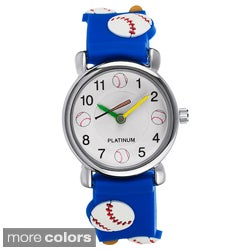 Geneva Platinum Kid's Baseball-Motif Silicone Watch