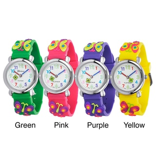 Geneva Platinum Kids' Silicone Butterfly Watch