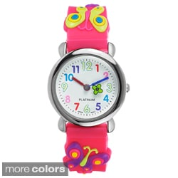 Geneva Platinum Girl's Silicone Butterfly Watch