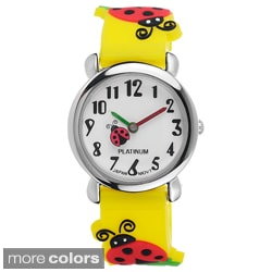 Geneva Platinum Kid's Ladybug-Motif Silicone Watch