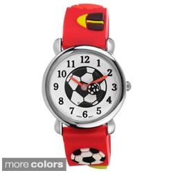 Geneva Platinum Kid's Soccer-Motif Silicone Watch