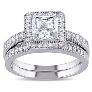 Miadora Sterling Silver White Cubic Zirconia Bridal Ring Set