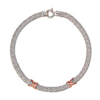 Sterling Silver and Rose Gold Double X's 9mm Choker Necklace (Italy)