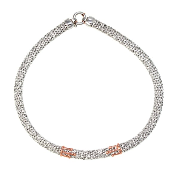 Sterling Silver and Rose Gold Double Crowns Choker Necklace (Italy)