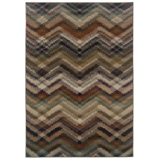 Chevron Ikat Navy/ Multi Area Rug (1'11 x 3'3)