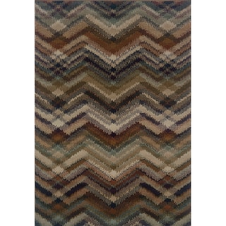 Chevron Ikat Navy/ Multi Area Rug (5'3 x 7'6)