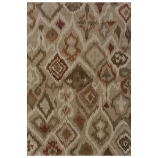 Tribal Ikat Tan/ Orange Area Rug (6'7 x 9'6)