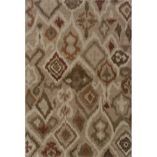 Tribal Ikat Tan/ Orange Area Rug (5'3 x 7'6)