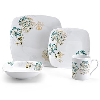 Mikasa Silk Floral Square Coupe-Shape Teal 4-Piece Place Setting