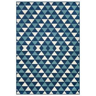 Indoor/Outdoor Blue Kaleidoscope Area Rug (3'11 x 5'7)