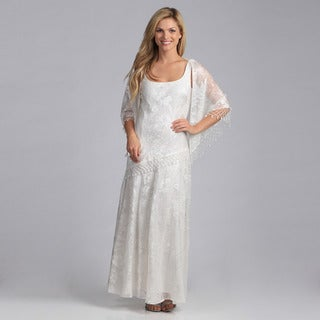 Alex Evenings Women's Long Chiffon Burnout Dress with Shawl