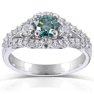 Annello 14k White Gold 1 1/4 ct TDW Fancy Blue and White Diamond Ring (VS1-VS2)