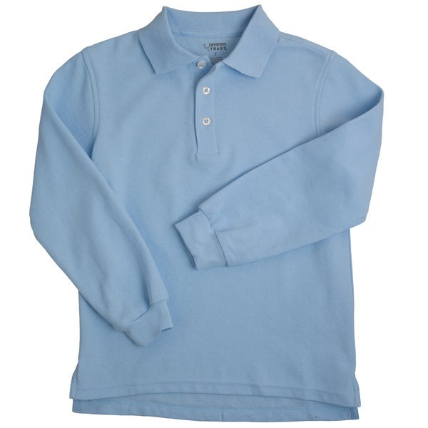 Boys Blue Long Sleeve Pique Polo Shirt