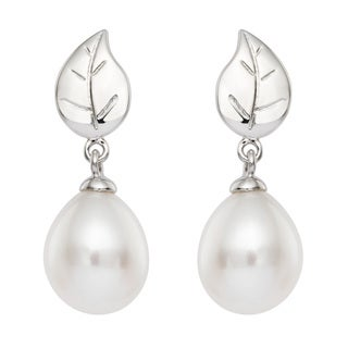 Pearlyta Sterling Silver Freshwater Drop Pearl Leaf Earrings (8-9 mm)