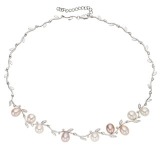 Pearlyta Sterling Silver Multi-colored Freshwater Pearl Necklace (9-10 mm)